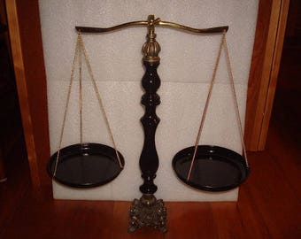 """Vintage Brass / Cast Balancing Scale / Scales Of Justice 19 3/4"""" Tall"""