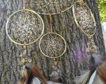 Ethiopian Opal and Cirtrine Crystal Hand-Woven Bohemian tribal Gold Dream Catcher Mobile by The Emerald Lotus