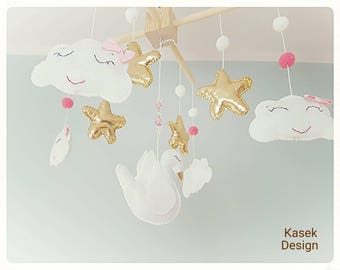 Ready to ship - Baby Crib Mobile - Music Baby Mobile - Felt Mobile - Nursery mobile - Swan & stars - Gold Mobile
