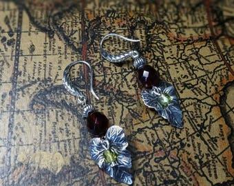 Fairy earrings silver, Garnet & Green