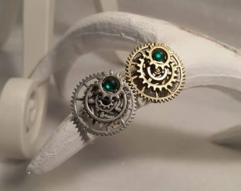 Steampunk gears and glass cabochon ring