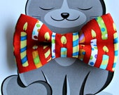 Birthday Bow Tie for Cat, Dog Bowtie, Collar Accessory, Pet Wardrobe, Handmade in Canada,  Kitty Birthday Party, Candles, Puppy Clothes
