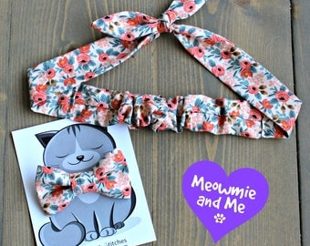 Gift for Pet Moms, Meowmie and Me Matching Bow Tie and Hair Tie, Cat Bowtie, Dog Bow Tie, Headband, Rosie Wrap, Mother's Day, Peach Floral