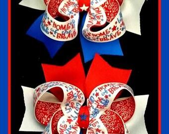 Patriotic Bows...4th of July bows...Pig Tail Bows...Pony tail bows...July 4th Bows