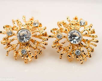 Vintage KJL for Avon Earrings Gold Tone Regal Riches Rhinestone Clip On Costume