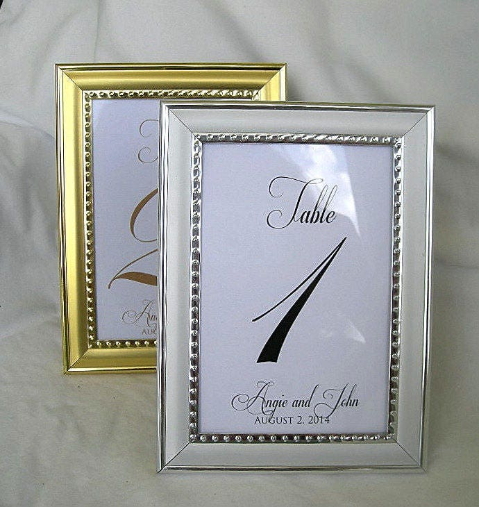 Wedding Table Number Card Frame Silver Gold Frame Table Cards Gold ...