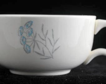 Royal Stetson Royal Maytime Coffee Cups Aqua Blue and Gray Flowers Vintage 1950s