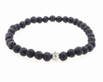 Men's 6mm Black Lava Beaded Bracelet