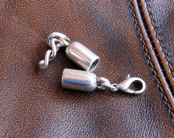 For round leather - silver zamak clasp set