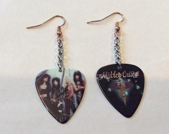 Motley Crew Inspired Guitar pick earrings