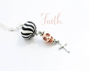 SALE--Cross Skull Novelty Necklace--Christian--Gift For Her--Trending--Inspirational--Catholic--Pink--Alternative Jewelry--Skull--Pink