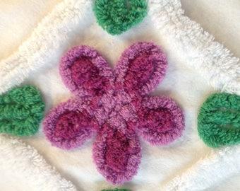 "Purple Flowers Vintage Chenille Bedspread Fabric...21 x 21"""