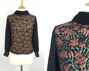 Vintage 1950s Blouse - 50s Black Floral Lace Top - Button back Top  - Long sleeved - Medium - UK 12 / US 8 / EU 40