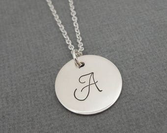 "SALE - Sterling Silver Initial Necklace - 5/8"" Initial Disc - Celebrity Style - Personalized Initial Necklace - Hand Stamped Jewelry"