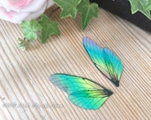 Mini Rainbow Fairy wing set, transparent iridescent wings with upper and lower pairs Cicada Style for crafts, diy fairy wings, doll making
