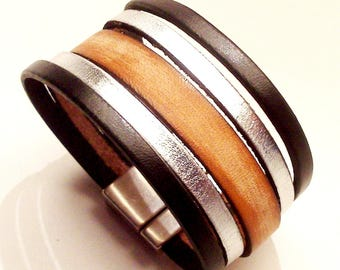 black and silver leather cuff and Brown vintage with magnetic clasp