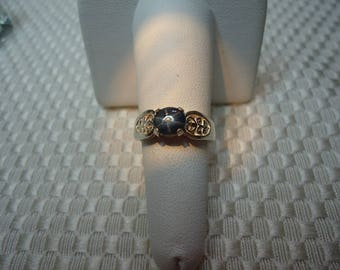 Oval Cabochon Blue Star Sapphire Ring in Sterling Silver  #2131