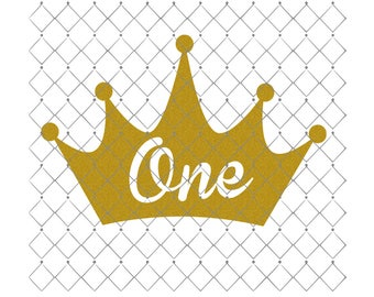 Crown One Iron On Heat Transfer Glitter Old Gold Gold Silver Red Aqua Decal Only Princess Party Decal First Birthday Decal