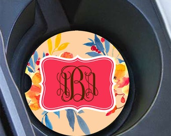 Floral monogram car coaster, Coral gold blue flowers, Auto accessory, Unique personalized cup holder coaster Floral auto decor Orange (1643)