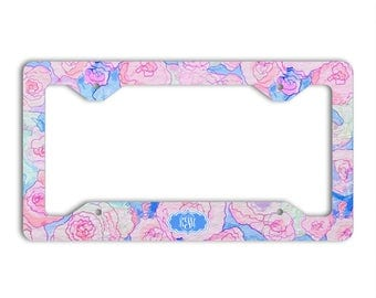 Monogram car license plate frame or cover with blue and pink flowers, Floral car decor, Flowers car accessories for her, Pretty gift (1688)