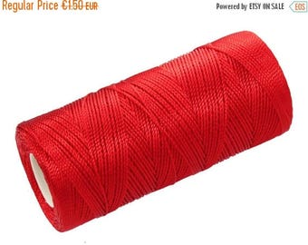 ON SALE 15 Meters Nylon Cord - Crochet Thread - Micro Macrame String - Nylon Thread Not Waxed - Red