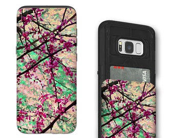 Spring Tree Blossoms Galaxy S8 Card holder Case - Eternal Spring - Credit Card Case for Samsung Galaxy S8 with Rubber Sides by Da Vinci Case