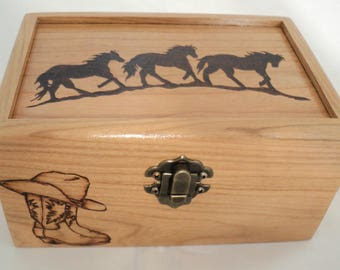 Wild Horses Western Wooden Woodburned Jewelry Keepsake Box, Cowboy Boots & Cowboy Hat Memory Box, Wooden Western Pyrography Box