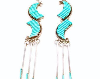 Vintage Zuni Sterling Silver Turquoise Long Petit Earrings