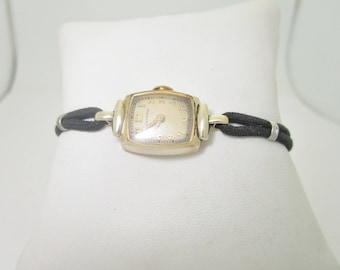 WORKING 1940'S Vintage HAMILTON Ladies Black Cord Band gf WATCH Size 6 1/2 6.5