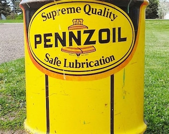 ON SALE Vintage, Pennzoil, Oil Barrel, Oil Drum, Yellow, Petroliana, Oil Can, Man Cave, Trash Can, Garbage Can, Oil City Pennsylvania, 1978