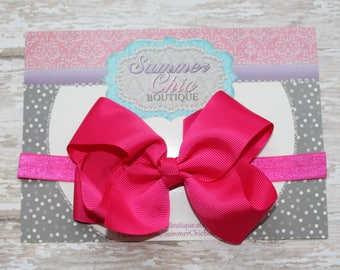 Baby Headband, Large Bow Headband, Infant Headband, Newborn Headband - Bright Pink Bow Headband, Headband, Boutique Bow on Fold over elastic