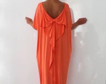 SALE ON 20 % OFF Backless Maxi dress, Peach color caftan dress , Open Back dress, Abaya Dress