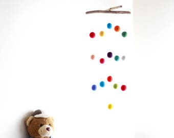 Driftwood Colorful Baby Crib Mobile with Felt Balls -- Felt Poms Mobile -- Gender Neutral -- Rustic Nursery Decor -- Ready to ship