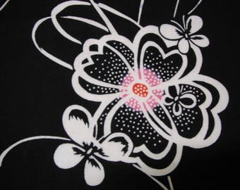 Butterfly Floral Vintage Japanese indigo cotton kimono fabric