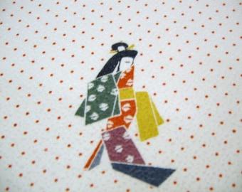 RARE Origami Geisha Vintage Japanese Tango chirimen silk kimono fabric