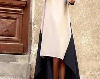 SALE New Collection Maxi Dress/Beige and Black Asymmetrical Kaftan/Extravagant Long short Dress /Party Dress/Daywear Dress by AAKASHA A03221