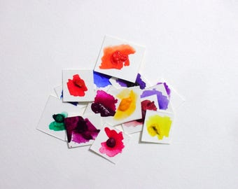 Dot Card Samples - Brights - Handmade Watercolor Paint - Watercolor Samples - Artist Gift - Art Paint - Handcrafted Professional Watercolor