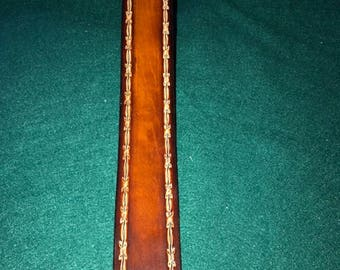 Barb Wire Guitar Strap ~Adjustable~100% Cowhide Leather~Name Engraved Free! ~Natural Barb Wire Finish