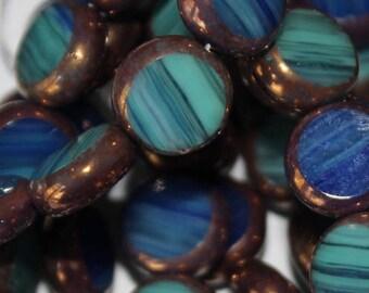 Authentic Czech Ocean Blue Round Shiney Lentil Beads with Bronze Edges