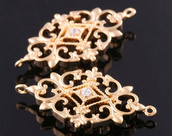 2pcs-25mmX15mm Bright Gold plated (clear)LUX Cubic zirconia  Connectors for bridal / wedding jewelry making (K1322G)