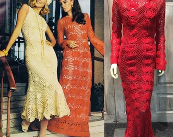 Vintage 1970's Red Knit Maxi Dress