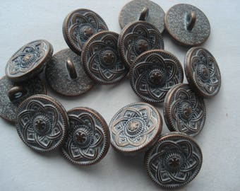 15mm Zinc Based Alloy Metal Shank Buttons, Round Antique Copper Carved Flower Buttons, Pack of 6 Buttons, A152