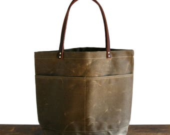 Brown Large Waxed Canvas Tote Bag with Leather Straps