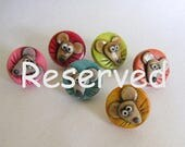Reserved for A.D.  Cute Mouse Thumbtacks, Whimsical Mouse Face Thumb Tacks, Colorful Moust Thumb Tacks, Bulliten Board Tacks