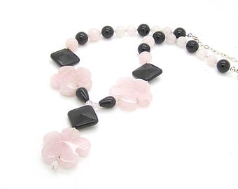 Rose Quartz Floral Statement Necklace, Floral Style Gemstone Jewellery, Pink and Black Chunky Necklace, Large Pendant Real Stone Jewellery