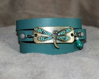 Turquoise leather wrap with dragonfly