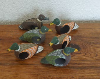 Vintage Duck Napkin Rings Hand Carved Wood Hand Painted Philippines Set of 6