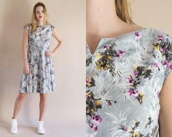 1950s Light Gray Floral Dress - Vintage 60s Pleated Skirt Dress - Cabanyal Dress