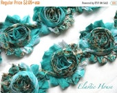 """ON SALE 30% OFF 2.5"""" Printed  Shabby Rose Trim- Teal/Blue Floral -Chiffon Trim - Teal Shabby Trim - Hair Acessories Supplies"""