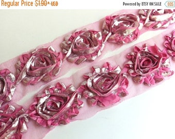"""Summer SALE 10% OFF 2.5"""" Shabby Rose Trim-  Shinny/Metallic Flowers - Pink Color- Pink Shabby Trim -Hair Accessories Supplies"""